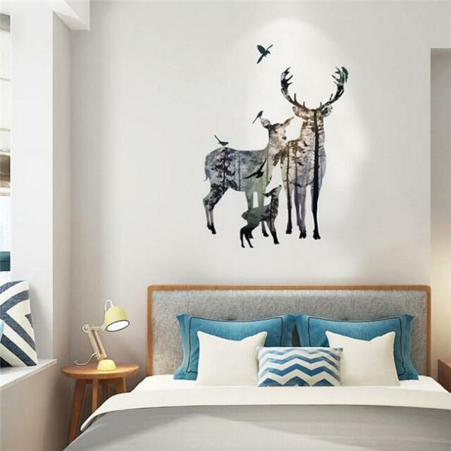 removable deer forest wall stickers decals art mural vinyl home decor diy