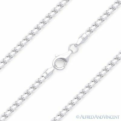 Solid 925 Italy Sterling Silver Mens Round Box 1.8mm Link Italian Chain Necklace