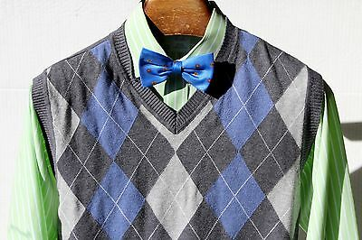 Macy's Club Room Dark Grey, Light Grey, & Blue Argyle Cotton Sweater Vest