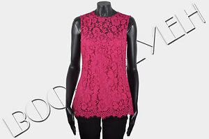 DOLCE-amp-GABBANA-1395-Authentic-New-Pink-Silk-amp-Cotton-Blend-Floral-Lace-Top