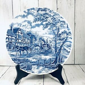 Royal-Wessex-Blue-Transferware-10-Round-Plate-England-Carriage-Horses-at-Inn