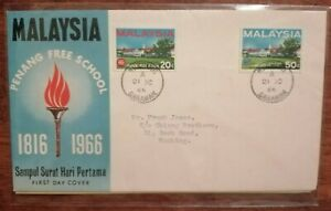FDC Malaysia 1966 - Penang Free School (2v Stamps Cover)