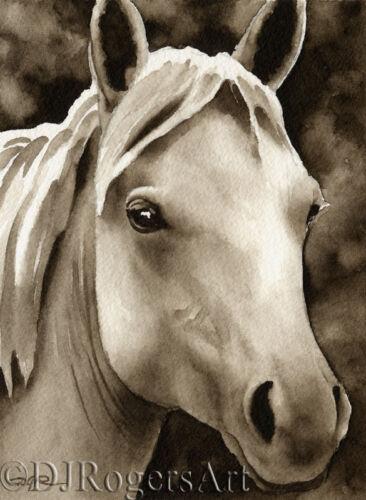 Horse Art Print Sepia Equestrian Watercolor Painting by Artist DJR