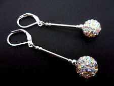 A PAIR OF DANGLY WHITE SHAMBALLA STYLE  SILVER PLATED LEVERBACK HOOK EARRINGS.