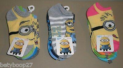 Despicable Me Minion Toddler Girls Fuzzy Slipper Socks Size 6-8 Yellow