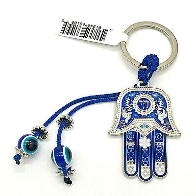 Chai Hebrew Hamsa Palm Key Ring Key Chain Blue Evil Eye Ebay
