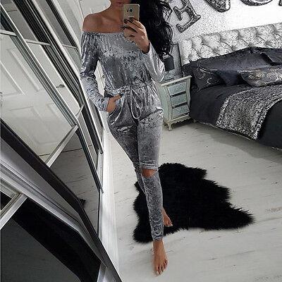 UK Womens Off Shoulder Crushed Velvet Jumpsuit Velour Loungewear Romper Playsuit