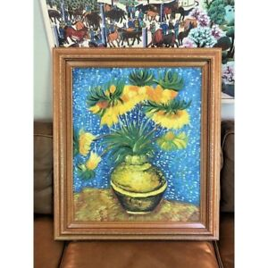 Floral Still Life Oil Painting After Van Gogh S Fritillaries In A Copper Vase Ebay