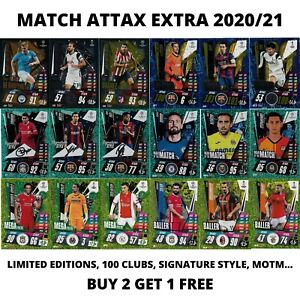 MATCH ATTAX EXTRA 2020/21 20/21 LIMITED EDITIONS 100 CLUB SIGNATURE STYLE MOTM..