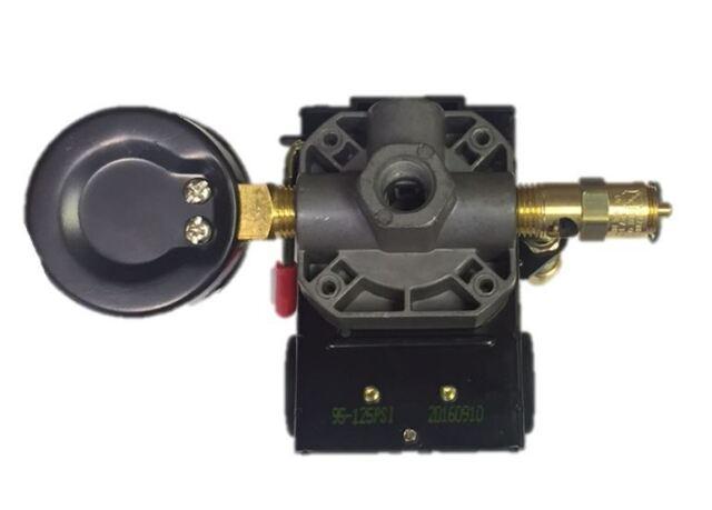 26 AMP H//D PRESSURE SWITCH AIR COMPRESSOR 145-175 4 PORT w// 0-200 psi Back Mount Gauge /& 200 psi Pop off valve