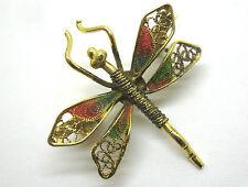 Alte Brosche Libelle vergoldet Punzierung Emaille