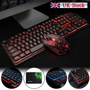wired gaming keyboard and mouse set kit led for pc ps4 macbook laptop tv pad ebay. Black Bedroom Furniture Sets. Home Design Ideas