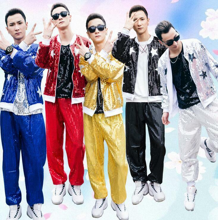 2Pcs Mens Sequins Loose Zippers Hip-hop Dance Coats Pants Trousers zengsell