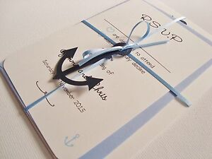 Nautical Wedding Invitations.Details About Personalised Handmade Ribbon Tied Anchor Nautical Wedding Invitation Sample
