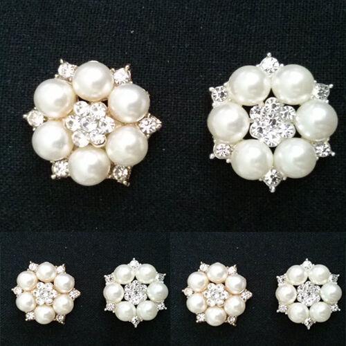 2 x Alloy Ivory faux Pearl//rhinestone flower cabochons-cake decorations//weddings