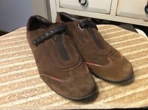 0f21088a3ed91 Details about Prada Brown Suede Oxford Loafer Shoe Women's Size 9 EU 39.5