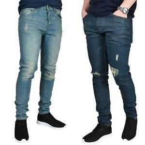 Para-hombres-Calce-Ajustado-Elastico-Denim-Envejecido-Deshilachado-Jeans-Rasgado-Biker-Pantalones