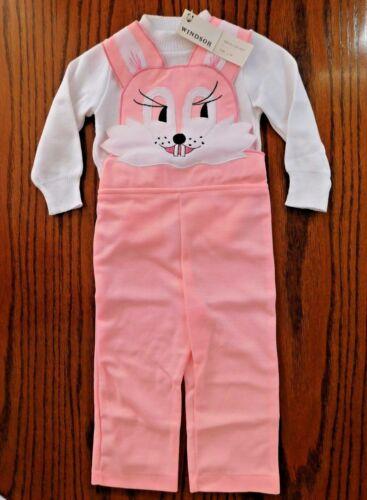 Vintage Vêtements Bébé Lapin Dungarees Set Costume Âge 2 Inutilisé Girls Toddlers