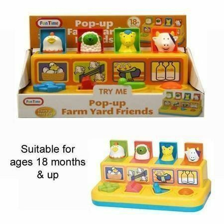Fun Time Pop up Farm yard Friends Baby /& Toddler Farmyard Animals Activity Toy