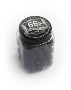 100x-Hard-Rubber-Steel-Balls-Paintballs-Powerballs-Munition-68-Cal-HDS-T4E-RAM