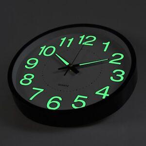 12 Inch Glow Dark Wall Clock Silent Quartz Luminous Wall