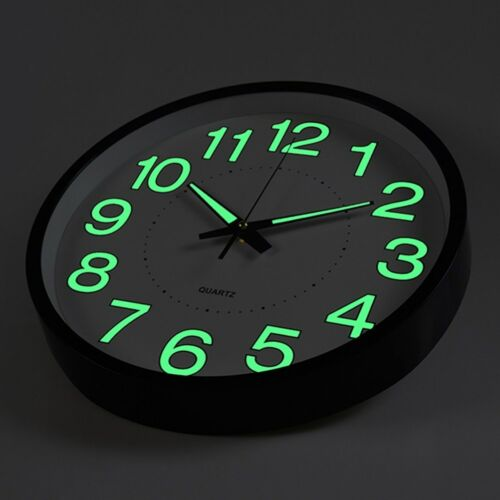 12 inch Glow Dark Wall Clock Silent Quartz Luminous Wall Classic Night Clocks US
