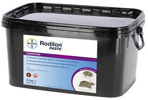 (27,65€/kg) 3kg Bayer Rodilon Paste Rattengift Mäusegift Giftköder #008.005