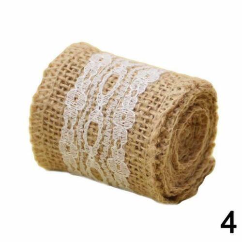 1Roll DIY Jute Burlap Natural Hessian Ribbon Trim Edge 1M Wedding Rustic G1I9