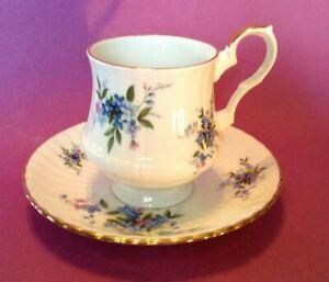 Royal Windsor Pedestal Teacup & Saucer - Blue & Purple Forget-Me-Not - England