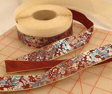 "25 meters French wire edge ribbon iridescent splattered paint design 1"" burgundy"