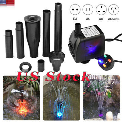 US Aquarium Water Pump Submersible Pump For Fish Tank Fountain with LED Light