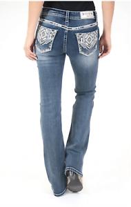 Grace In LA Mid Rise Aztec Diamond Easy Bootcut Jeans 26 27 28 29 30 31 32 33 34