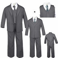 Baby Toddler Teen Formal Dark Grey Tuxedo 6pc Set Boy Suit Checkered Tie Sz S-20