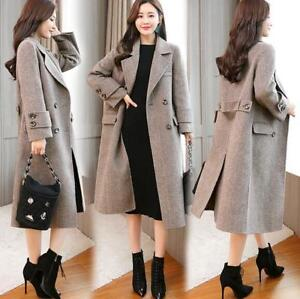 Blend Women's Parka Double New Coat Loose Wool Fit Plaid breasted Sbox Lang wErAxqEzp