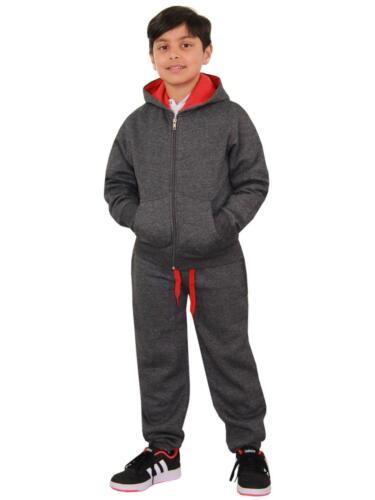 Kids Boys Girls Tracksuit Fleece Charcoal /& Red Hoodie /& Bottom Jogging Suits