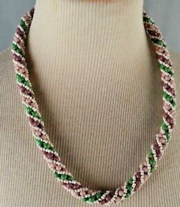 Vtg-American-Southwest-Beaded-Necklace-Souvenir-1970-039-s-1980-039-s-Twist-Pink-Green