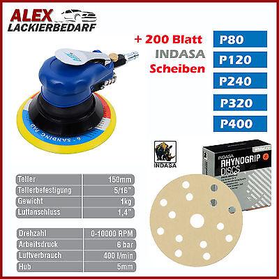 Mini Exzenter Set Schleifmaschine 75mm Indasa P400 Schleifscheiben Druckluft