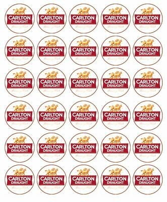 30 Carlton Dry Edible Cupcake Toppers Wafer Paper Birthday Party Cake Decoration