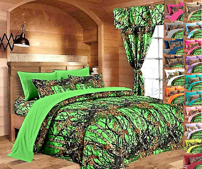 12 PC KING REGAL COMFORT LIME GREEN CAMO COMFORTER SHEETS CURTAINS CAMOUFLAGE