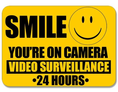 4x5 inch Smile You/'re On Camera Video Surveillance Sticker 24 hour cam warning
