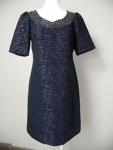 d8efe704 Adrianna Papell Womens 2 Black Tweed Beaded Neck Short Sleeve Shift ...