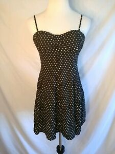 American-Eagle-Outfitter-Black-White-Polka-Dot-Padded-Bustier-A-Line-Dress-M-G