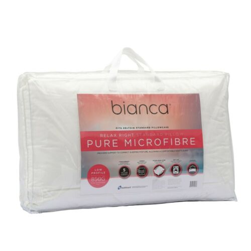 Bianca Relax Right 850gm Pure Microfibre Fill Low Profile Pillow