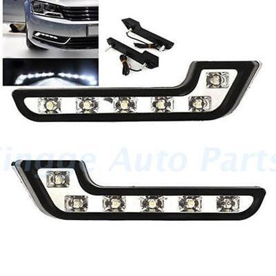 1Set White Bright 12V 6 LED Auto Driving Lamps Fog DRL Daytime Running Lights l5