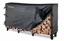 Firewood Rack With Cover 8 Ft Indoor Outdoor Log Storage Holder Steel Fire Wood