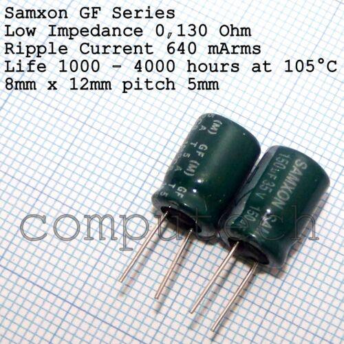 10 pezzi Condensatore elettrolitico 150uF 35V 105°C  Low Impedance SAMXON GF