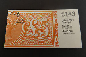 GB Folded Stamp Booklet FN5A Victoria £5 Orange 1982 POSTAL HISTORY SERIES # 6