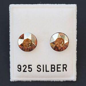 Systematisch Neu 925 Silber Ohrstecker 8mm Swarovski Steine Gelb/metallic Sunshine Ohrringe Freigabepreis Echtschmuck
