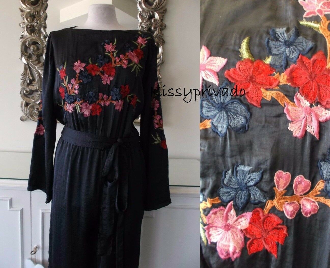 ZARA Navy bluee Floral Embroidered Jumpsuit with Belt S BNWT REF 7521 243