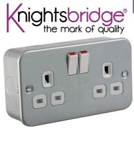 Knightsbridge Metal Clad 13A 13 Amp 1G 1 Gang Double Pole Switched Single Socket